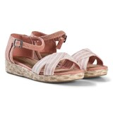 Toms Pink Chambray Stripe Strappy Sandals