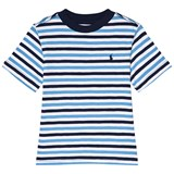 Ralph Lauren White and Navy Multi Stripe Short Sleeve Tee