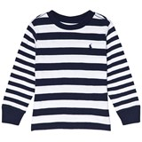 Ralph Lauren White Multi Stripe Long Sleeve CN Tops Tee