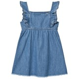 Pepe Jeans Blue Anabel Soft Denim Frill Detail Raw Edge Dress