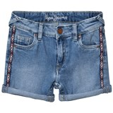 Pepe Jeans Blue Melanie Zig Zag Side Trim Denim Shorts