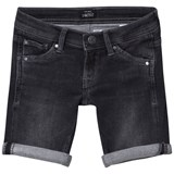 Pepe Jeans Black Cashed Washed Slim Fit Soft Denim Shorts