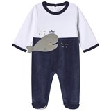 Absorba White and Navy Whale Print Velour Babygrow