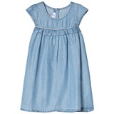 Absorba Light Blue Chambray Dress with Lurex and Frill Detail