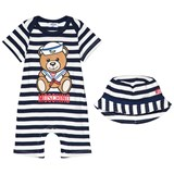Moschino Black and White Sailor Bear Print Romper and Bucket Hat Ensemble