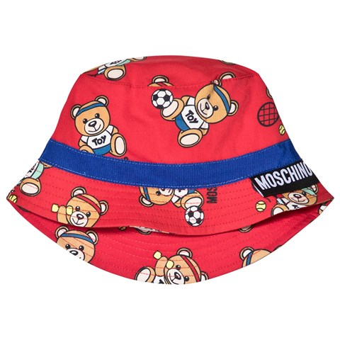 Moschino Red Sport Bear All Over Print Bucket Hat  baa1c1b80f5