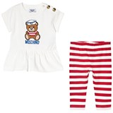 Moschino White Sailor Bear and Stripe Leggings Set