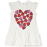 Moschino White Heart Branded Print Jersey Dress