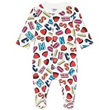 Moschino White All Over Letter Branding and Heart Babygrow