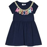 Moschino Navy Branded Necklace Logo Jersey Dress