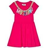 Moschino Pink Branded Necklace Logo Jersey Dress