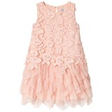 Mayoral Pink Embroidered Flower and Tulle Tiered Skirt Dress