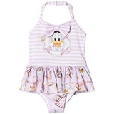 Monnalisa Pink Donald Duck and Stripe Frill Swimsuit