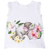 Monnalisa White Baby Elephant Print Tunic with Bow Back