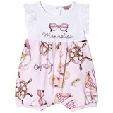 Monnalisa Pink Donald Duck and Sunglasses Print Diamante Romper
