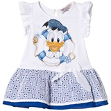 Monnalisa White Donald Duck Print Eyelet Dress