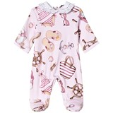 Monnalisa Pink Donald Duck Nautical Print Lace Collar Babygrow