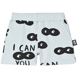 Little Man Happy Blue Black I Can See You Print Shorts