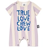 Little Man Happy Yellow and Lavender Striped True Love Romper