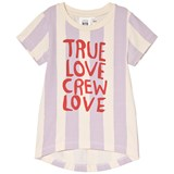 Little Man Happy Yellow and Lavender Red Slogan Print Striped T-Shirt