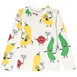 Mini Rodini White All Over Veggie Print Long Sleeve T-Shirt
