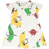 Mini Rodini White Veggie All Over Print Wing Dress