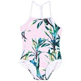 Snapper Rock Green and Pink Royal Palm Halter Swimsuit