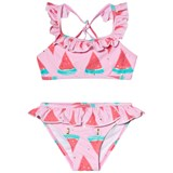 Snapper Rock Pink and Red Watermelon Sports Ruffle Two-Piece Swimsuit