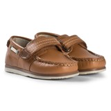 Mayoral Brown Leather Velcro Boat Shoes