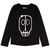 NUNUNU Black Skull Mask Patch Light Knit Top