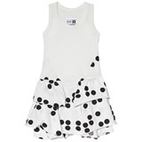 NUNUNU White And Black Braille Print Layered Dress