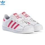 adidas Originals White and Shiny Pink Kids Superstar Trainers