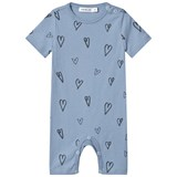 One We Like Blue Faded Denim Hearts Short Sleeve Baby Romper