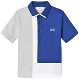 BOSS Blue and Grey Colour Block Jersey Polo