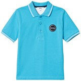 BOSS Turquoise Pique Polo with Rubberised Logo
