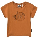 Sproet and Sprout Rust Puffer Fish Print T-Shirt