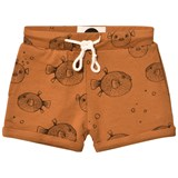 Sproet and Sprout Rust Brown Puffer Fish Print Sweat Shorts