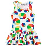 Boys & Girls White and Multicoloured Beach Ball Print Jersey Dress