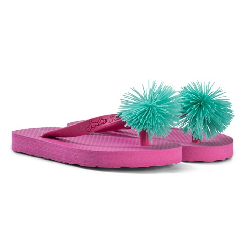 2f8cc8078d1fd9 Joules Pink and Green Pom Pom Flip Flops