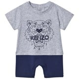Kenzo Kids Grey and Navy Tiger Jersey Romper