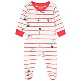 Joules Cream and Red Stripe Dog Print Babygrow