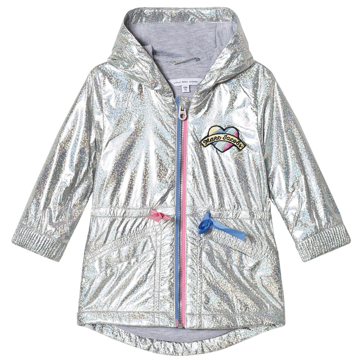 25607cc9e286 Little Marc Jacobs Silver Holographic Parka with Branded Patch ...