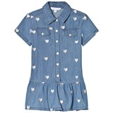 Little Marc Jacobs Blue Chambray Shirt Dress with Heart Embroidery