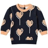 Blune Navy Heart Allover Printed Pullover