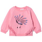 Noe & Zoe Berlin Pink Peacock Printed Infants Jumper with Fringing Detail