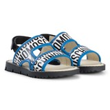 Moschino White and Blue Logo Sandals