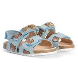 Moschino Pale Blue and Gold Bear Logo Leather Sandals