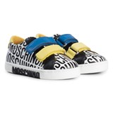 Moschino White Black Blue And Yellow Branded Velcro Trainers