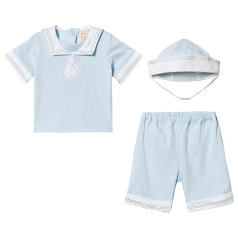 Emile et Rose Pale Blue Sailor Top, Bottoms and Hat Set