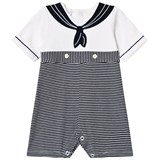 Emile et Rose Navy and White Sailor Jersey Romper